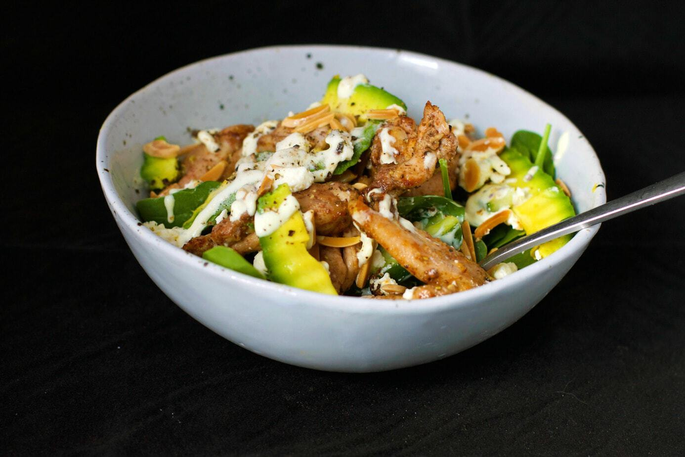 Chicken Avocado Almond Salad