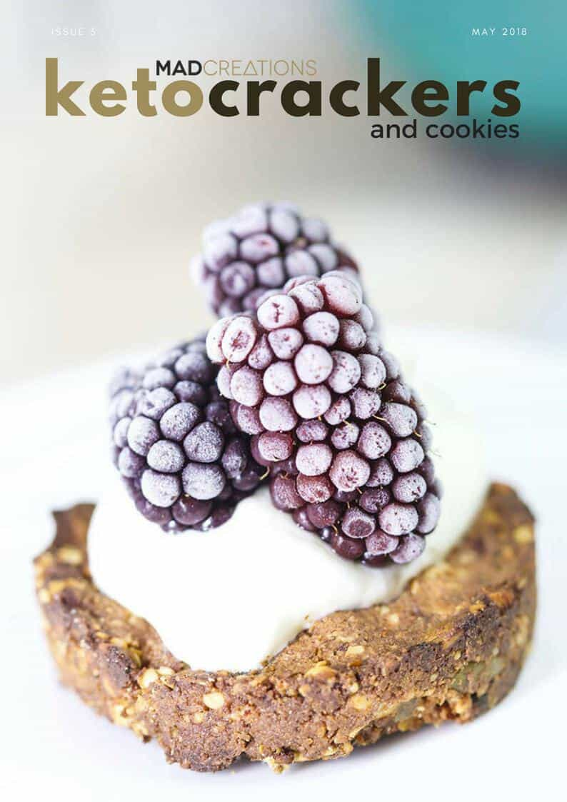 Mad Creations Keto Cracker and Cookies eBook #glutenfree #grainfree #ketodiet #keto #ketogenicdiet #ketocrackers Breakfast Cookie with yoghurt and berries