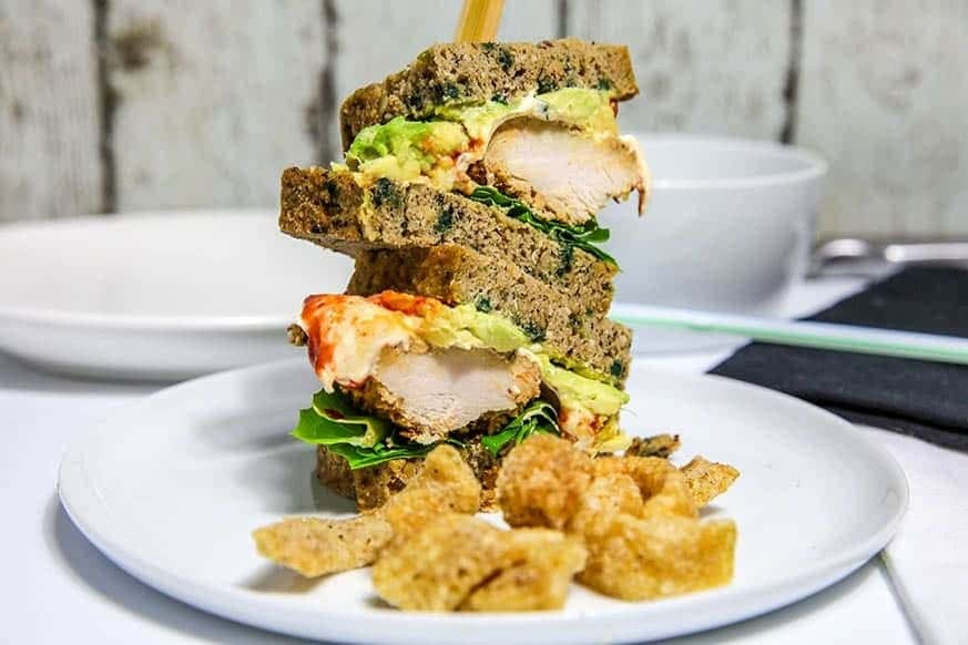 Mad Creations Chicken Schnitzel Salad Sandwich #grainfree #ketogenicdiet #lowcarb #glutenfree #GF #guacamole