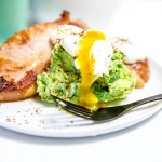Bacon Chops Guacamole and Poached Eggs – Keto breakfast
