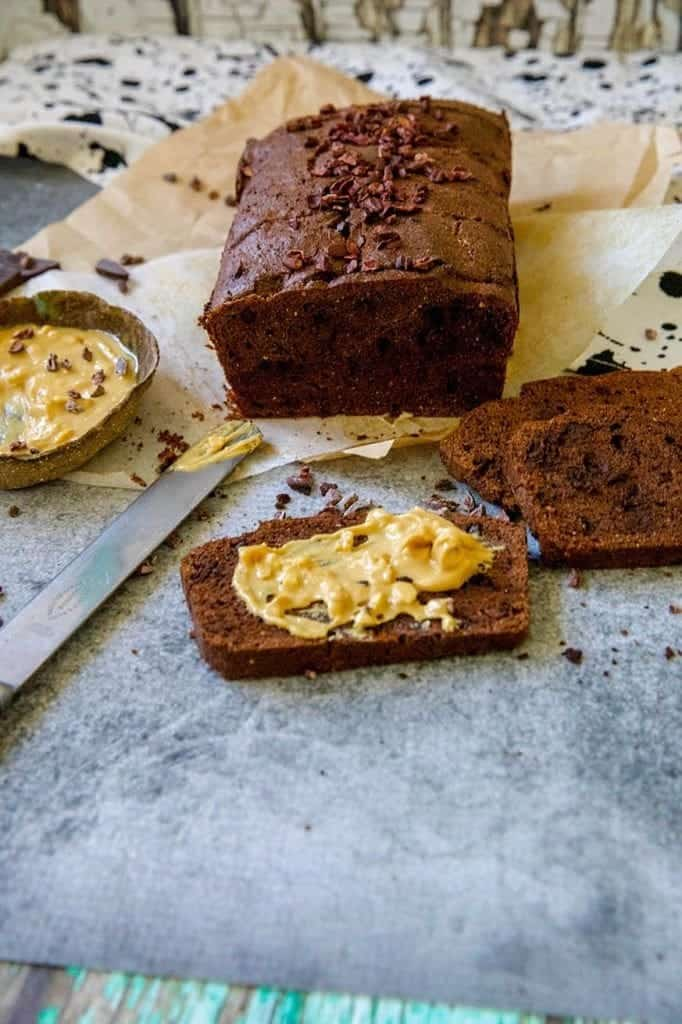 chocolate cacao bread with peanut butter