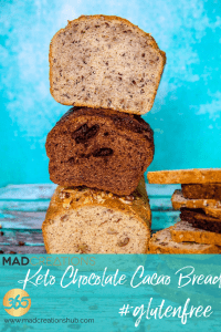 Stack of 3 keto breads with blue background