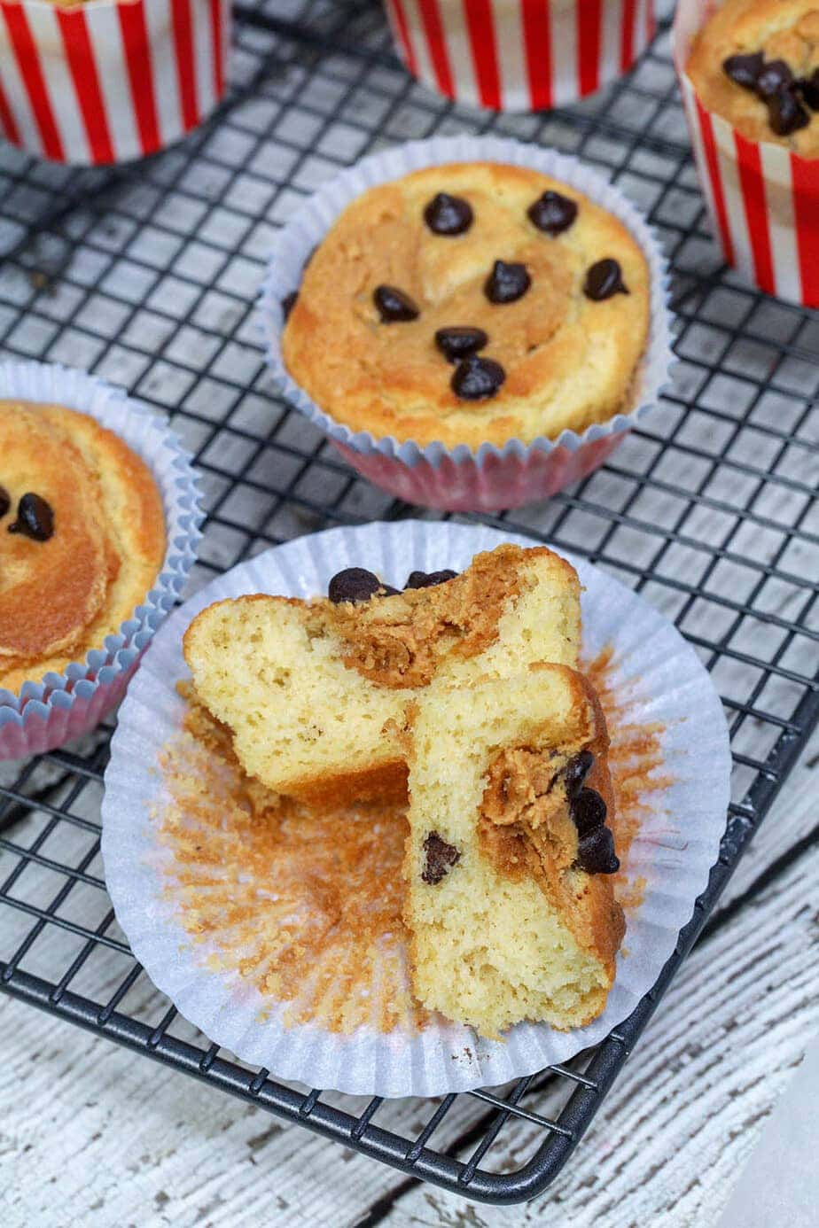 keto peanut butter muffin on tray