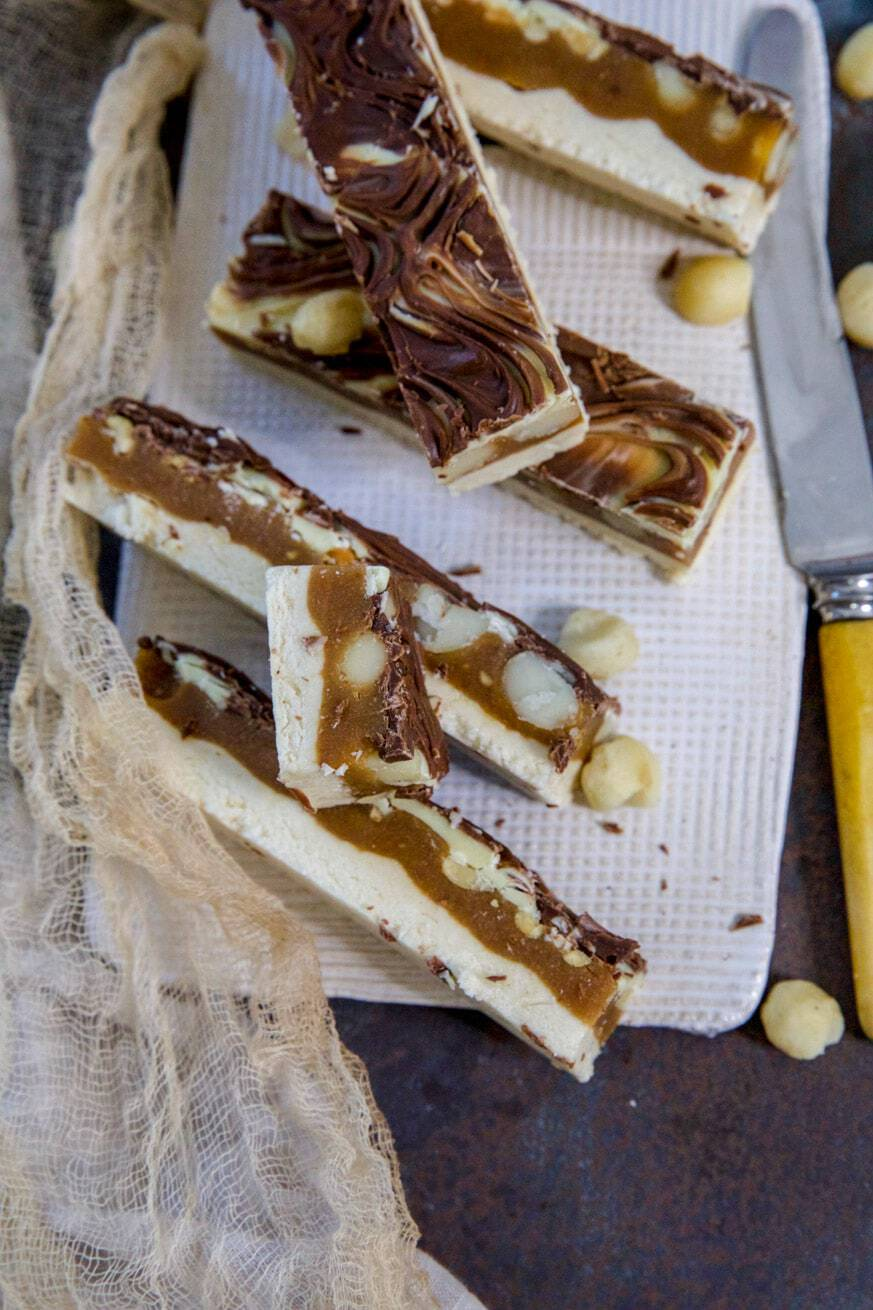 Mad Creations Keto Caramel Nut Chew Bars on a white platter