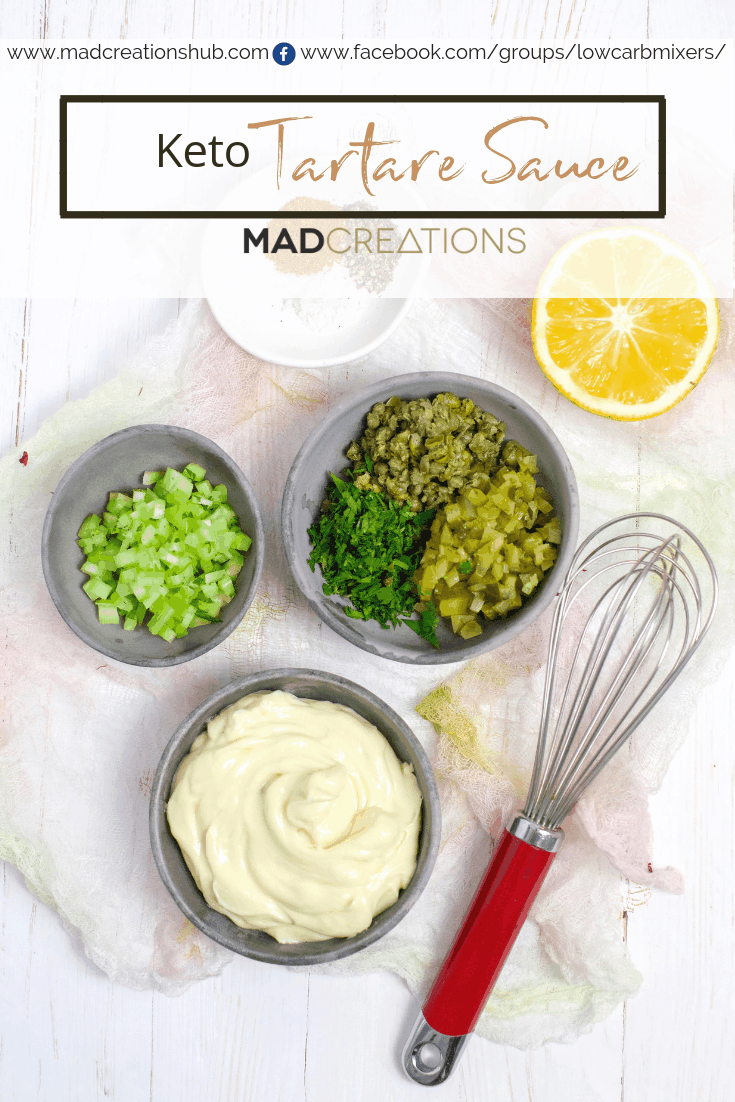 Keto Tartare Sauce in a grey bowl with all ingredients