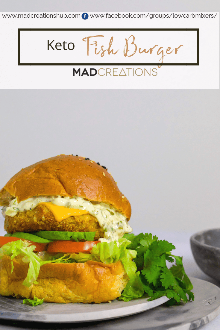 Mad Creations Keto Fish Burger on a grey plate