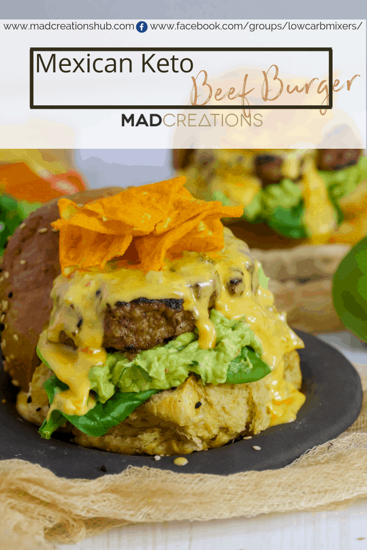 Keto Mexican Beef Burger on a black plate