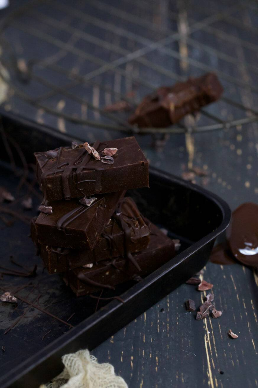 Stacked chocolate fudge in old baking tray