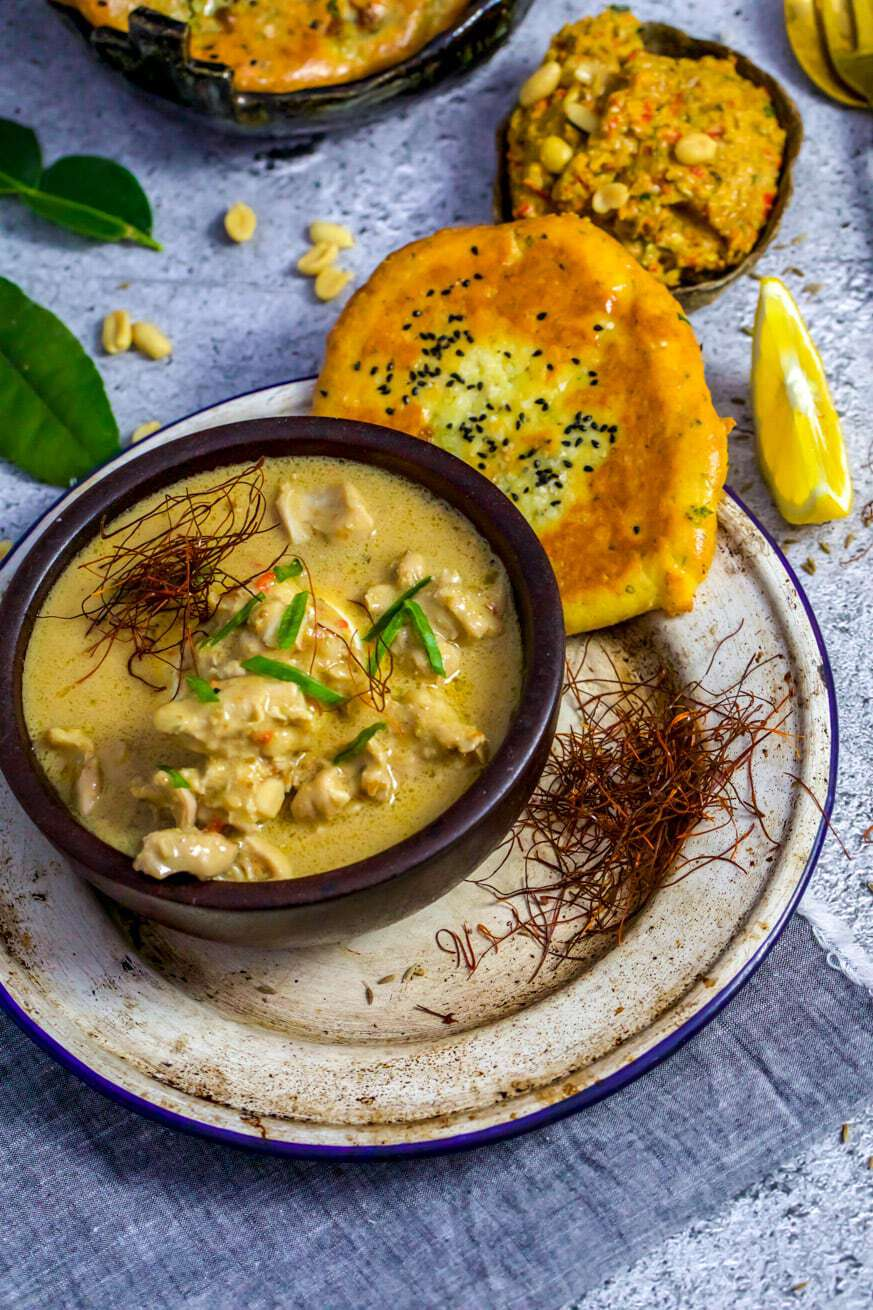 panang chicken curry with keto naan