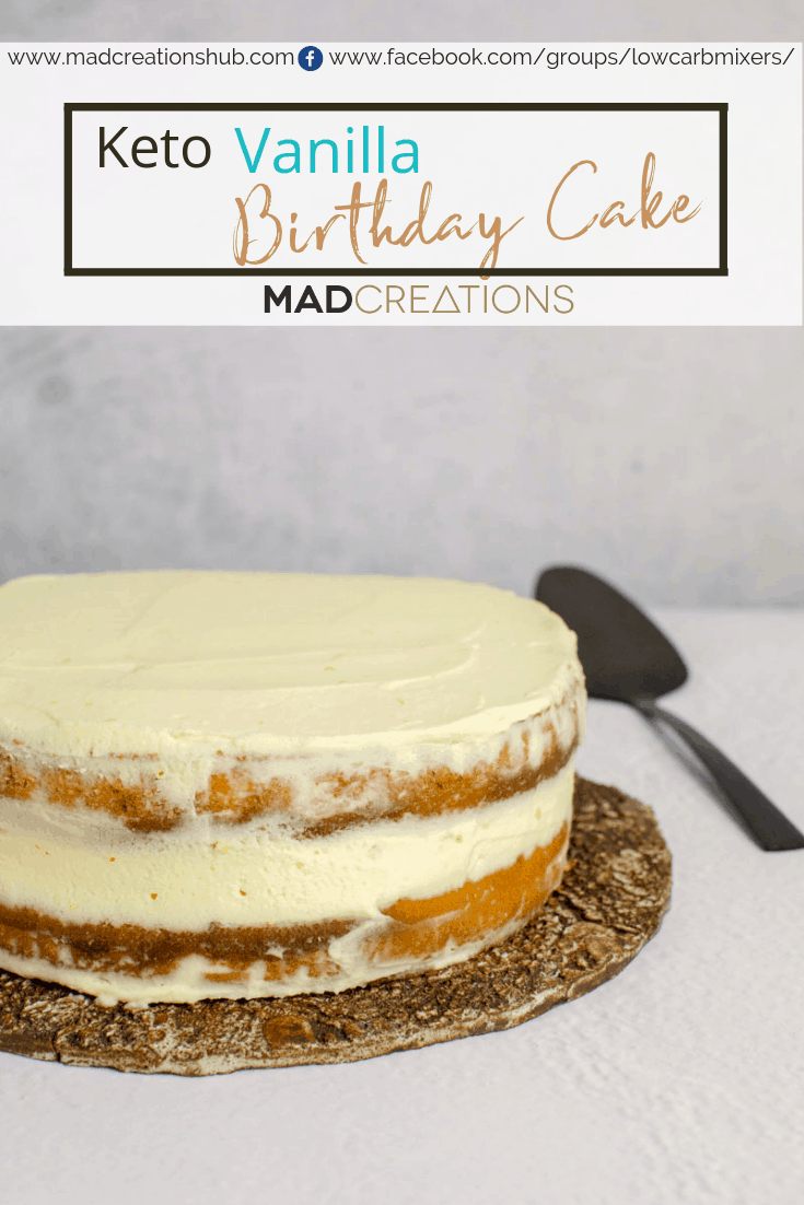 Mad Creations Keto Vanilla Cake on white table