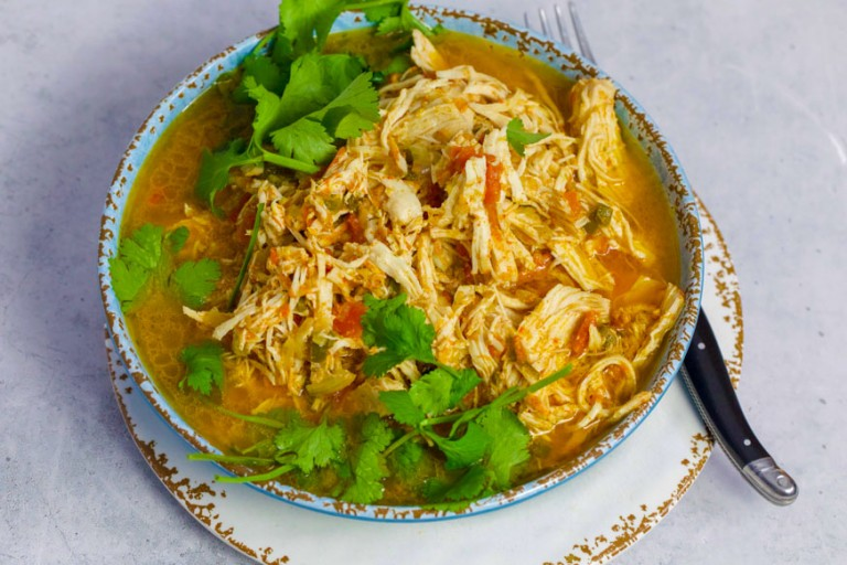 Mexican Shredded Chicken in a blue bowl